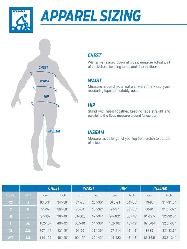 Giant Apparel Size Chart