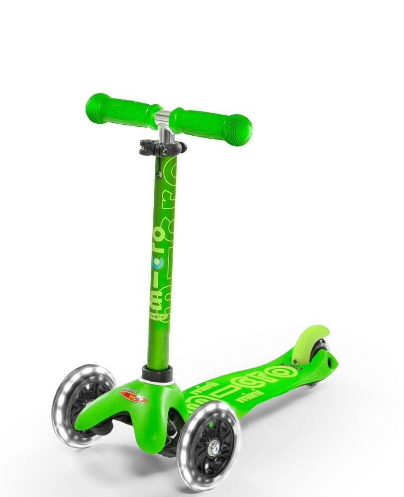 Mini Micro Deluxe LED Green | Micro Scooters Perth | Kids Scooters