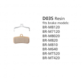 BR-M8020 D03S Resin Disc Brake Pads
