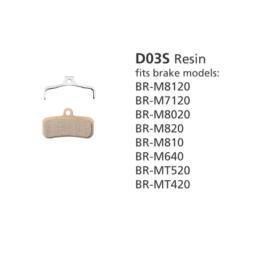 BR-M8020 D03S Resin Disc Brake Pads