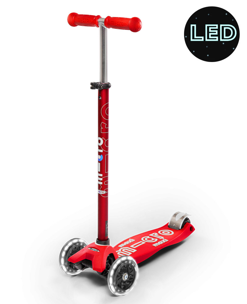 Maxi Micro Deluxe LED Red Scooter | Micro Scooters Perth